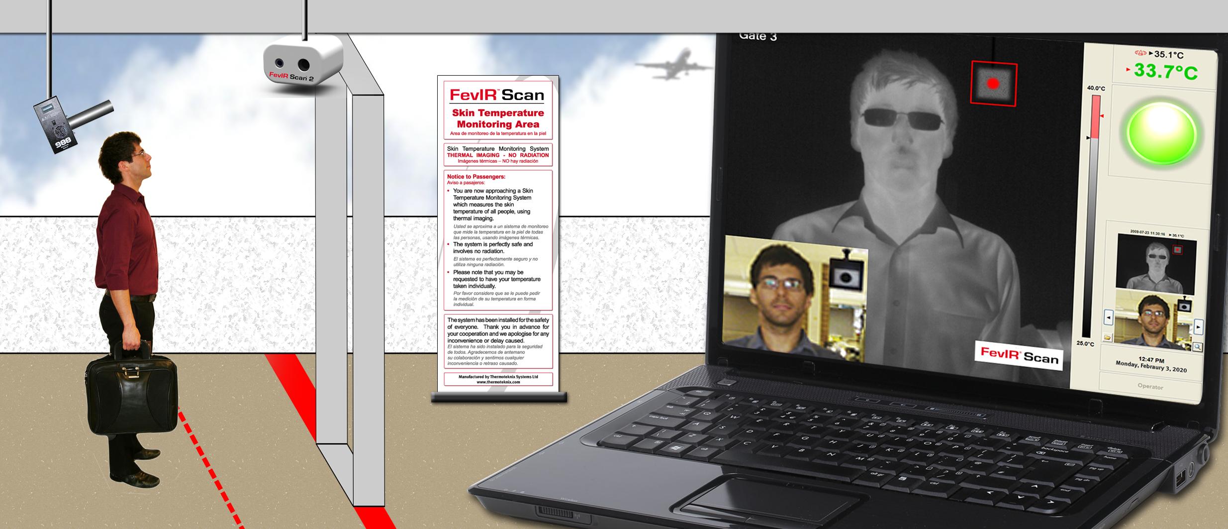 Un pasajero es escaneado por la FevIR en un aeropuerto.